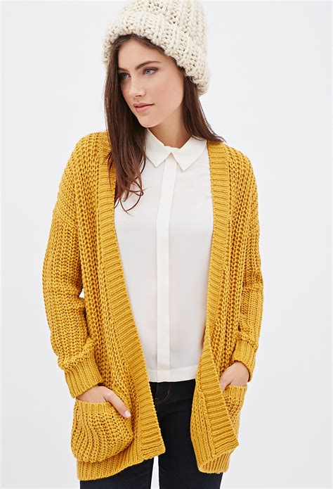 Forever 21 Purl Knit Cardigan In Yellow Lyst