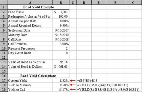microsoft excel bond yield calculations tvmcalcs com