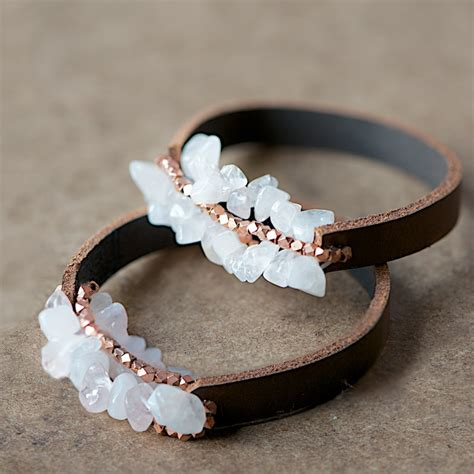 how to make leather jewelry easy chunky leather bracelet tutorial