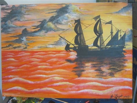 acrylic painting on canvas cranes sunset the galleon sunset acrylic painting by sephshadows on