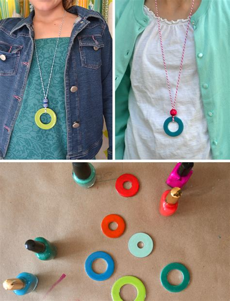 crafts for small diy washer necklaces kid s summer craft handmade