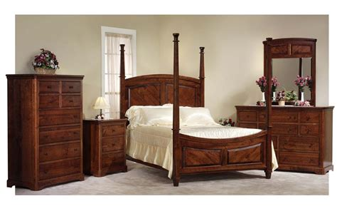 4 bedroom furniture sets amish bedroom set with 4 poster bed in rustic cherry wood