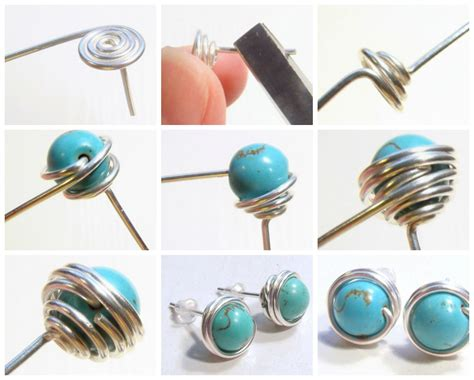 how to make sted jewelry free diy how to wire wrapped bead stud earrings see step