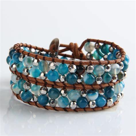 leather bead bracelets leather bead wrap bracelet by shamelessly sparkly