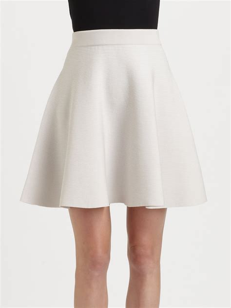 white knit skirt knit flared skirt in white lyst