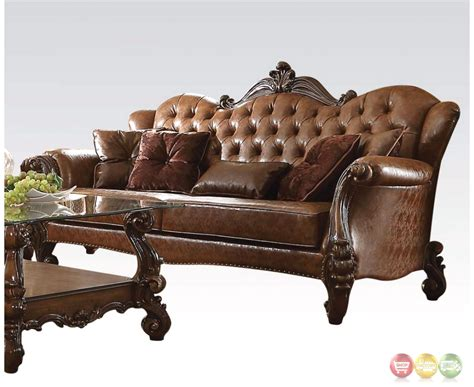 tufted brown leather sofa versailles formal button tufted sofa in light brown leather