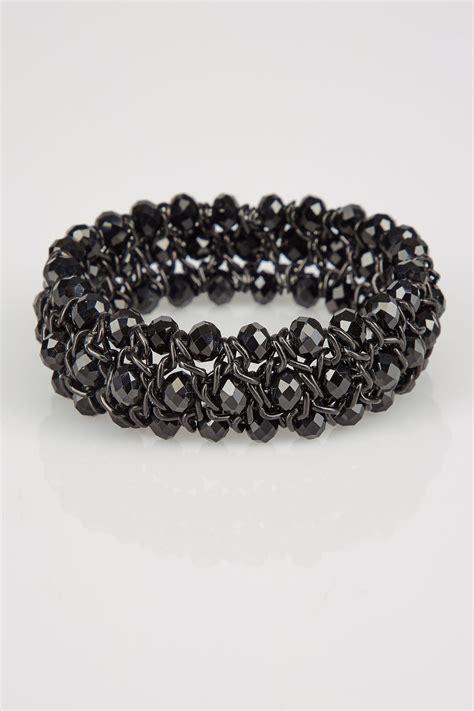 bead stretch bracelet black twisted bead stretch bracelet