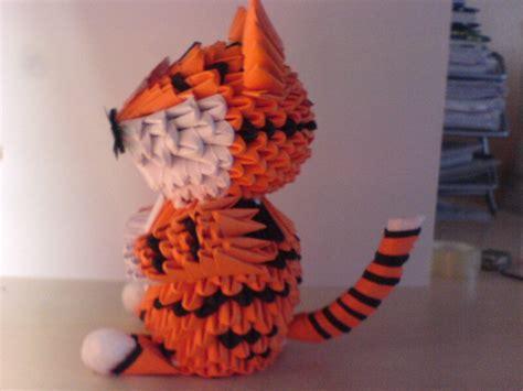 3d Origami Tiger Sideways By Bloodypaperangel On Deviantart