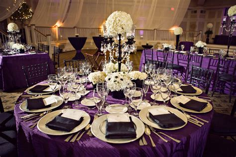 purple and white decorations purple table decoration with white flowers for wedding