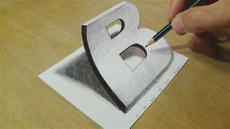 craft drawing paper drawing 3d letter b trick on paper with graphite
