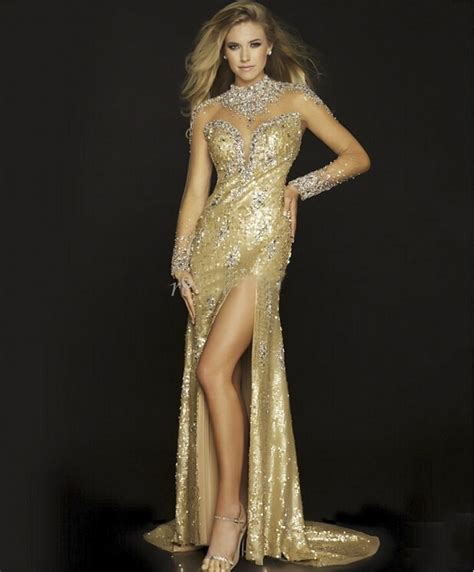 gold beaded evening gown fashion bling gold evening dress with slit 2016 high