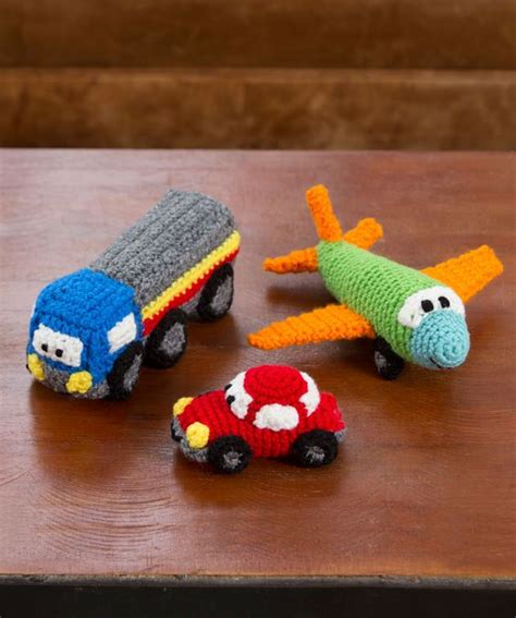 knitted car pattern diy car plane and truck amigurumi toys free crochet