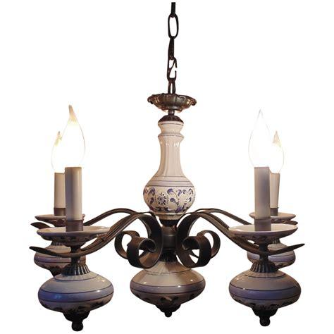 delft chandelier vintage delft iron chandelier light fixture blue white 5