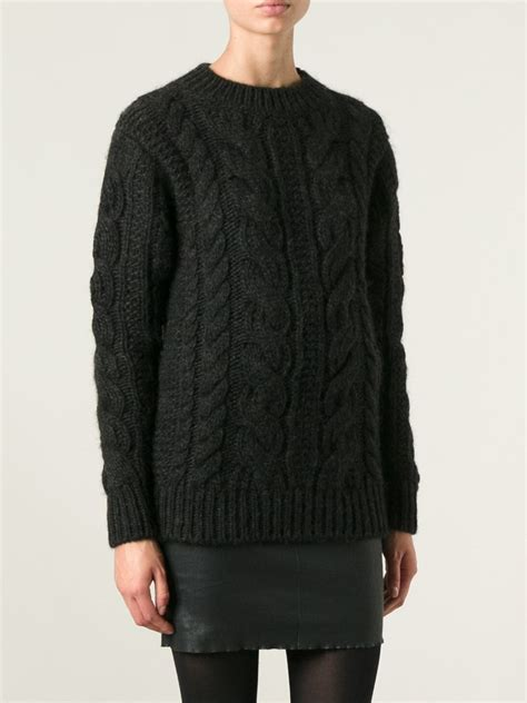 black cable knit sweater belstaff cable knit sweater in black lyst