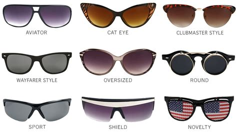 different types of a guide to different sunglasses