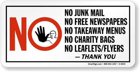 free no no junk mail free newspapers charity bags leaflets sign