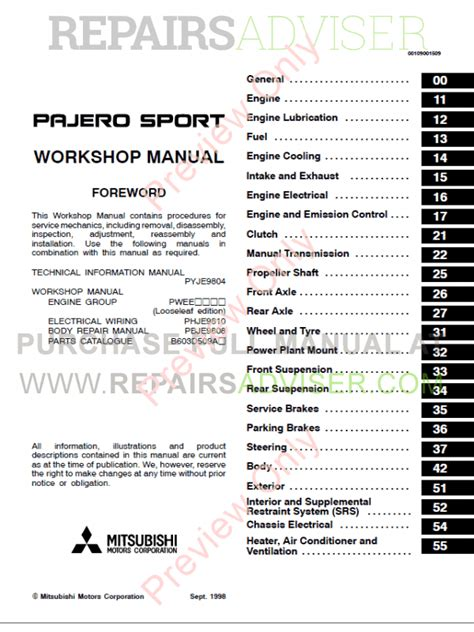 mitsubishi pajero montero workshop manual pdf download mitsubishi challenger montero pajero sport workshop manual pdf download