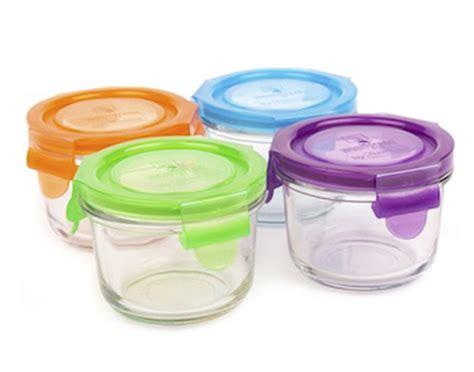 4 pots de conservation repas bb en verre weangreen