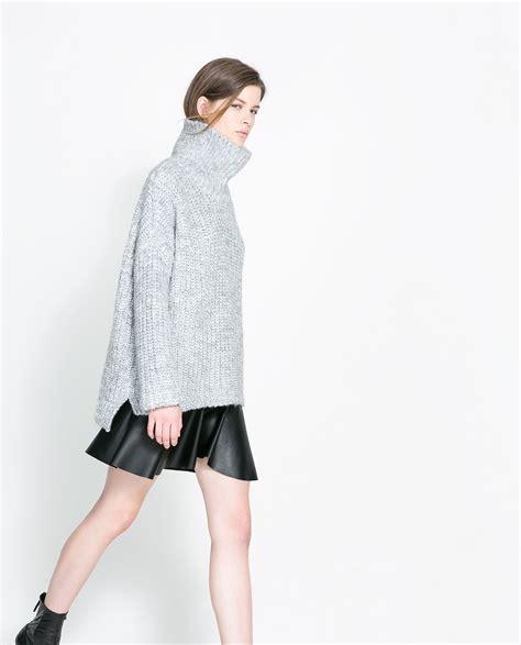 zara knitted sweater zara knit sweater in gray lyst