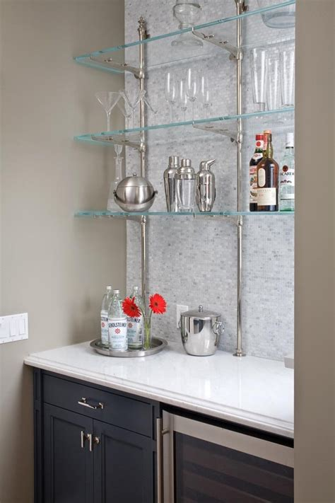 Gray Folding Chairs by Bar Glass Shelves Home Bar Contemporary With Bar Bar
