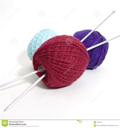 what size knitting needles for knit wool three wool balls and knitting needles stock image image