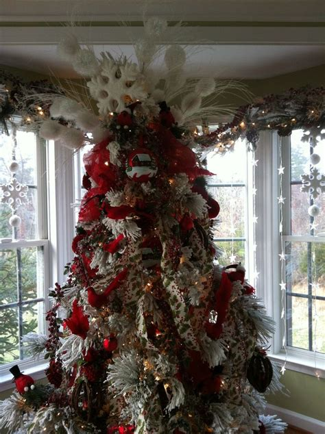 decorated flocked trees flocked tree decorated trees