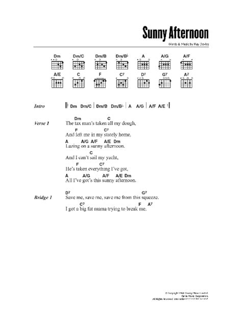 picture book kinks chords afternoon sheet direct