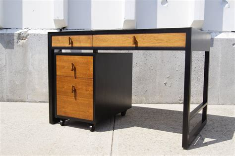 desk rolling file cabinet two tone desk with rolling file cabinet by edward wormley