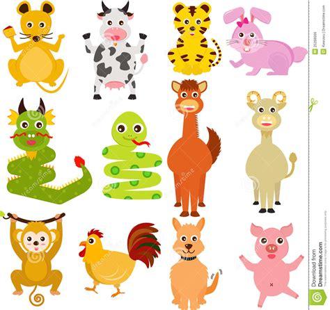twelve chinese zodiac animals royalty free stock images