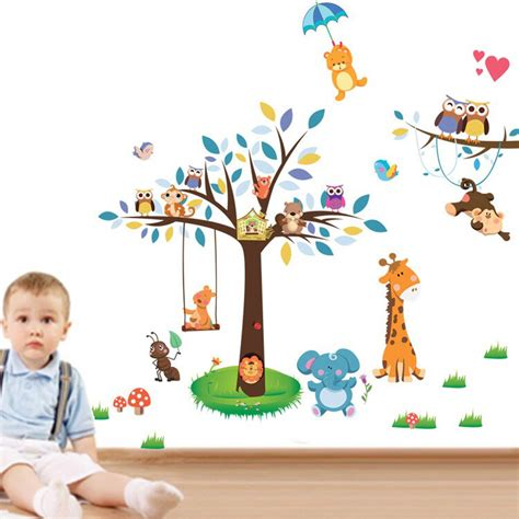 Tree Wall Mural Decal tree animal cartoon vinyl wall stickers for kids rooms