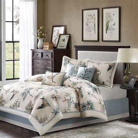 king size floral comforter sets king size birds leaf floral print comforter set blue ivory