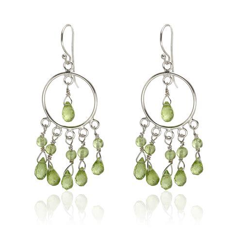 sterling silver bead earrings sterling silver 12 72ctw peridot bead dangle earrings