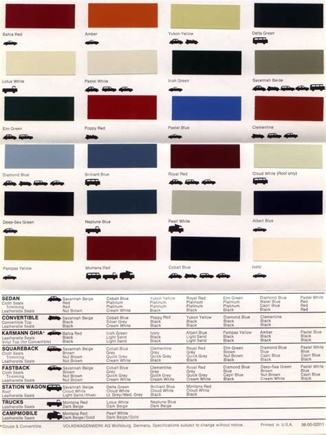 Volkswagen Colors by Thesamba Vw Archives 1970 Vw Colors Brochure