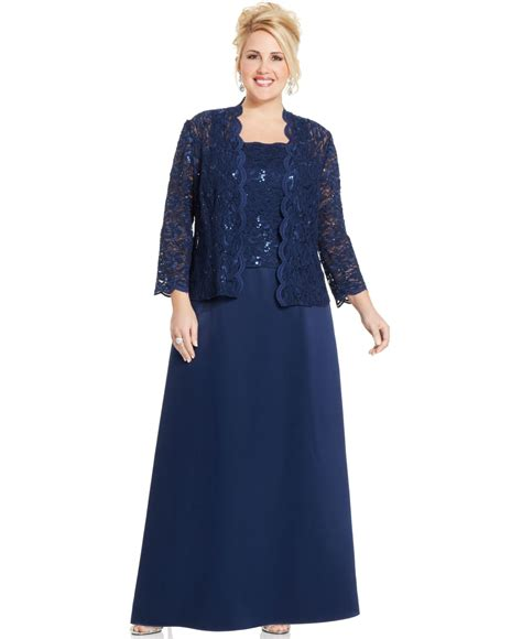 beaded evening jackets plus size alex evenings plus size sequin lace gown and jacket in