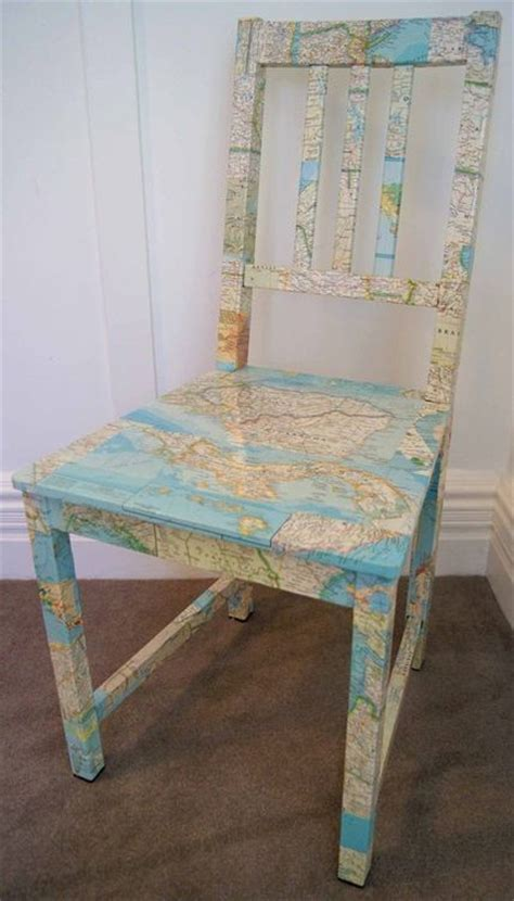 decoupage chair ideas map chair decoupage recycle furniture diy ideas
