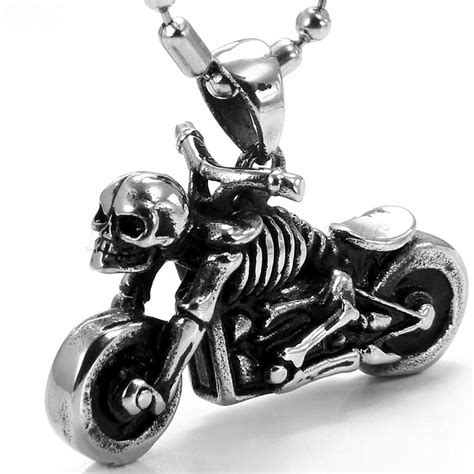 Kette Motorrad Schmuck by Herren Edelstahl Sch 228 Del Skelett Motorrad Anh 228 Nger