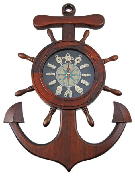 Dining Room Pendant Lighting wooden ships wheel anchor sailors knot wall clock