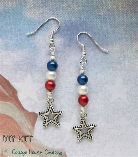 kit to make jewelry patriotic dangles beaded earring jewelry photo