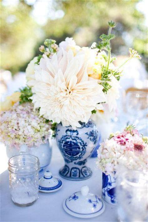 blue vases for centerpieces centerpieces of blue and white vases and teapots