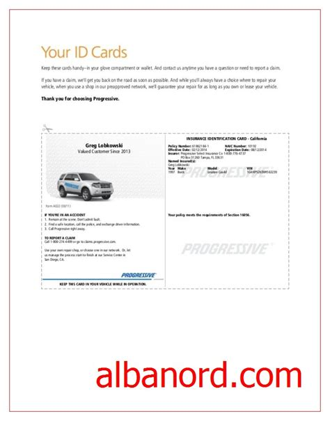 how to make a auto insurance card progressive insurance card template albanord