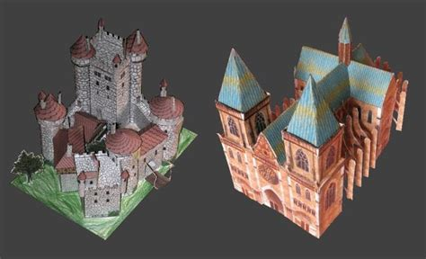 paper craft castle cathedral and castle paper models jpg