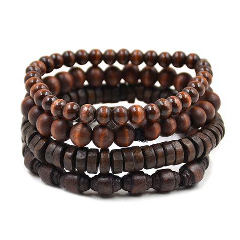 wood beaded bracelets fashion multilayer wooden beaded bracelet elastic bangle