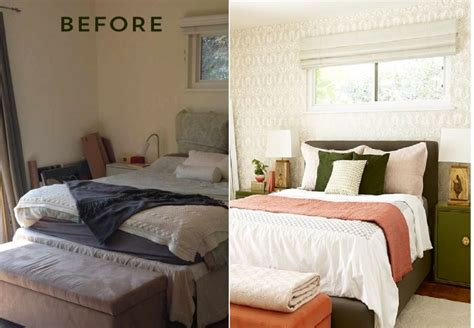 small bedroom makeover before and after bedroom makeover with moss and coral