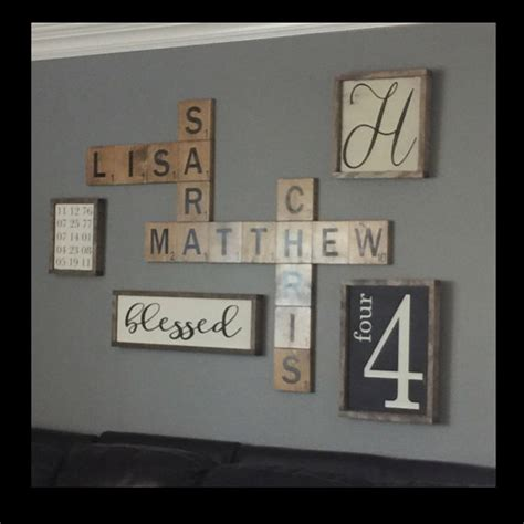 scrabble letters for wall scrabble wall display family names in a by