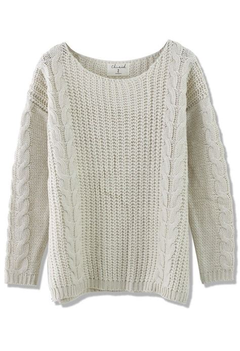 white knit sweater classic cable knit sweater in white