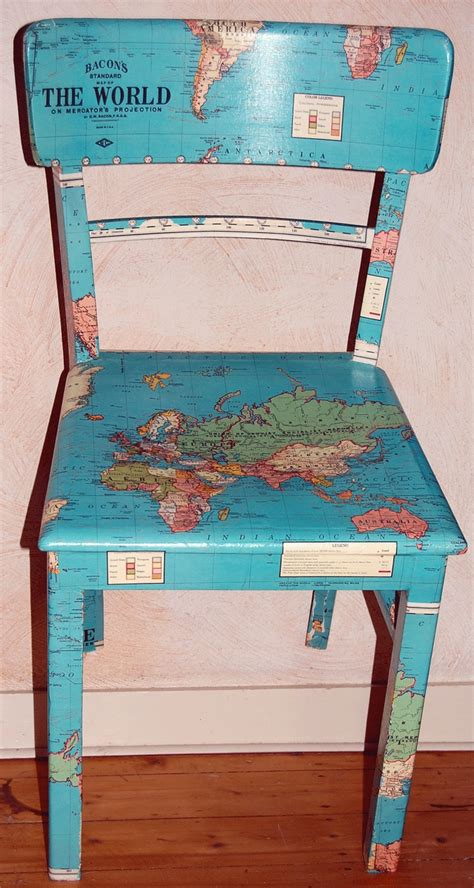 decoupage furniture with maps map chair upcycling chairs kid decoupage