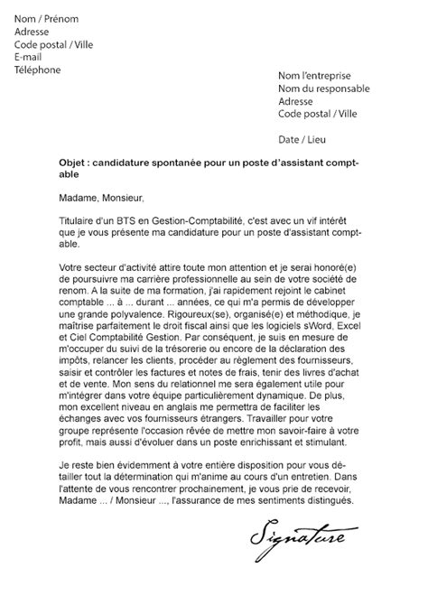 lettre de motivation assistant comptable mod 232 le de lettre