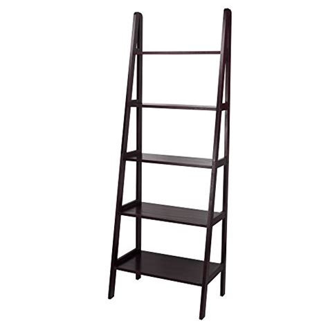 ladder for bookcase espresso solid wood contemporary simple leaning 5 shelf
