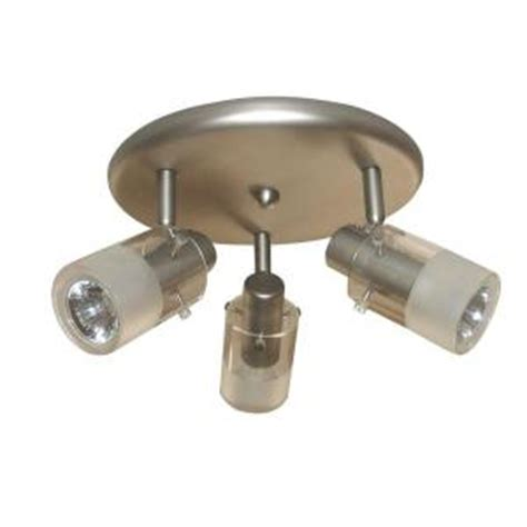 home depot kitchen light fixtures hton bay 3 light brushed steel ceiling mount