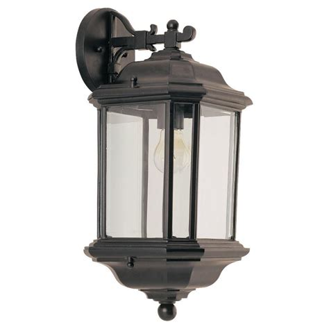 outdoor light fixtures home depot sea gull lighting kent 1 light black outdoor wall fixture
